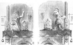 Alice stepping through the looking-glass. John Tenniel, 1871