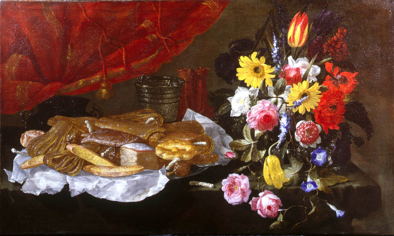 Recco,_Giuseppe_-_A_Still_Life_of_Roses,_Carnations,_Tulips_and_other_Flowers_in_a_glass_Vase,_with_Pastries_and_Sweetmeats_on_a_pewter_Platter_and_earthenware_Pots_-_17th_c