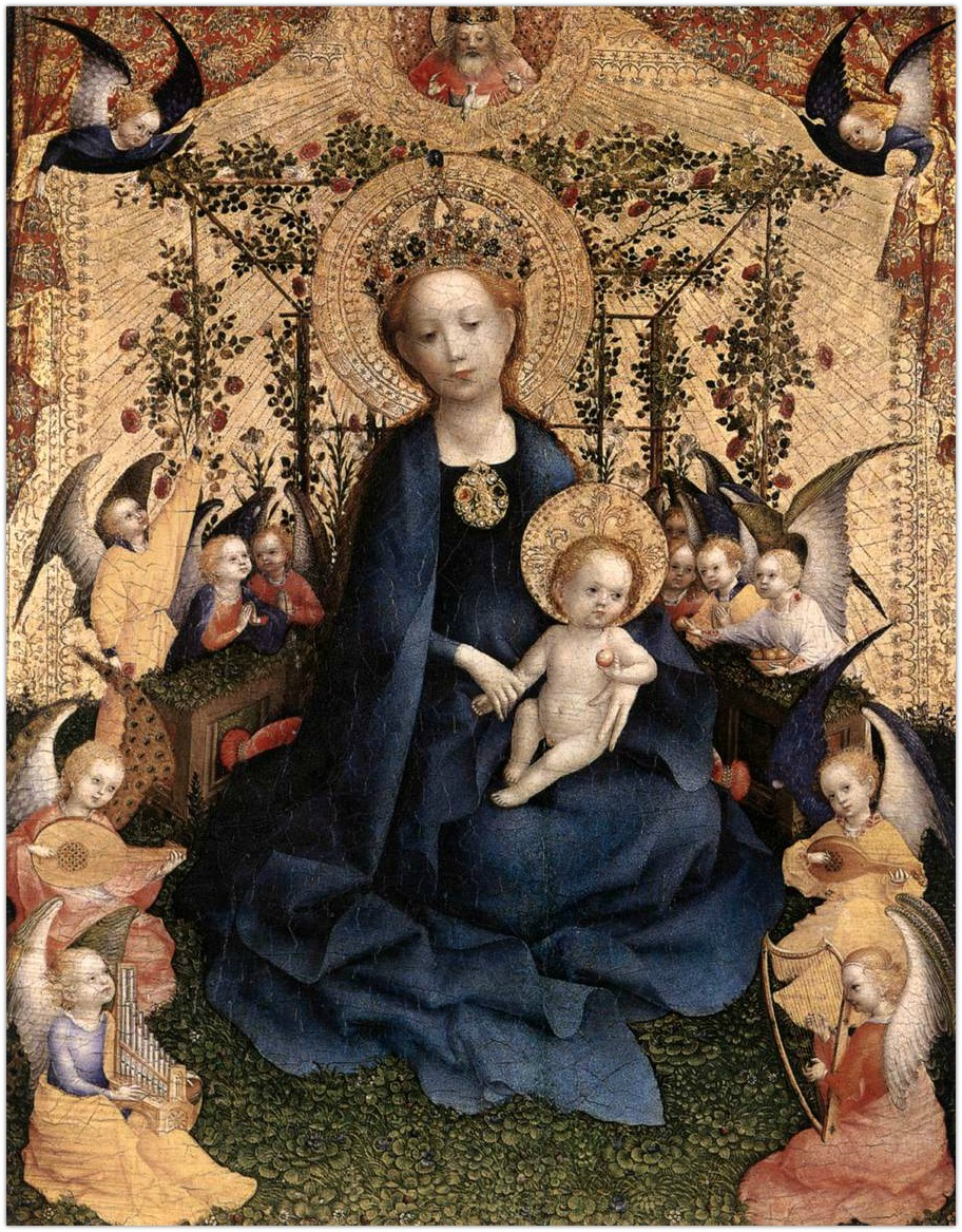 Rozele-Madonna-of-the-Rose-Garden.-Stefan-Lochner-c.-1440