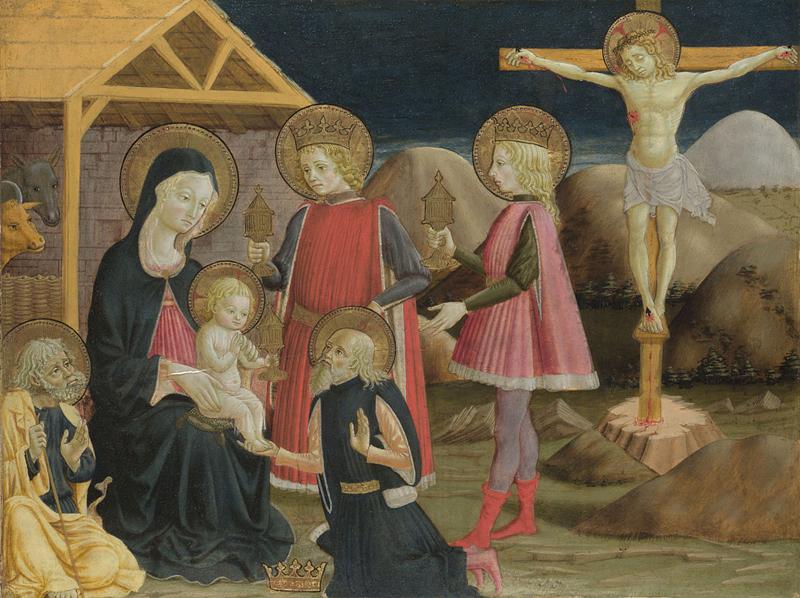 Karalių pagarbinimas ir Kristus ant Kryžiaus. Benedetto Bonfigli. c. 1420
