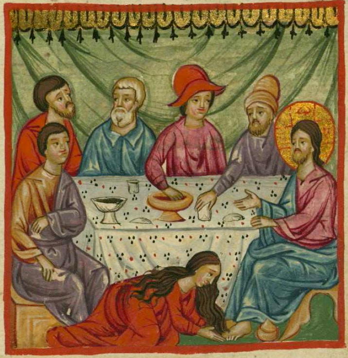 Mary_Anoints_Jesus. Ilyas_Basim_Khuri_Bazzi_Rahib From a 1684 Arabic manuscript of the Gospels copied in Egypt by Ilyas Basim Khuri Bazzi Rahib. likely a Coptic monk.