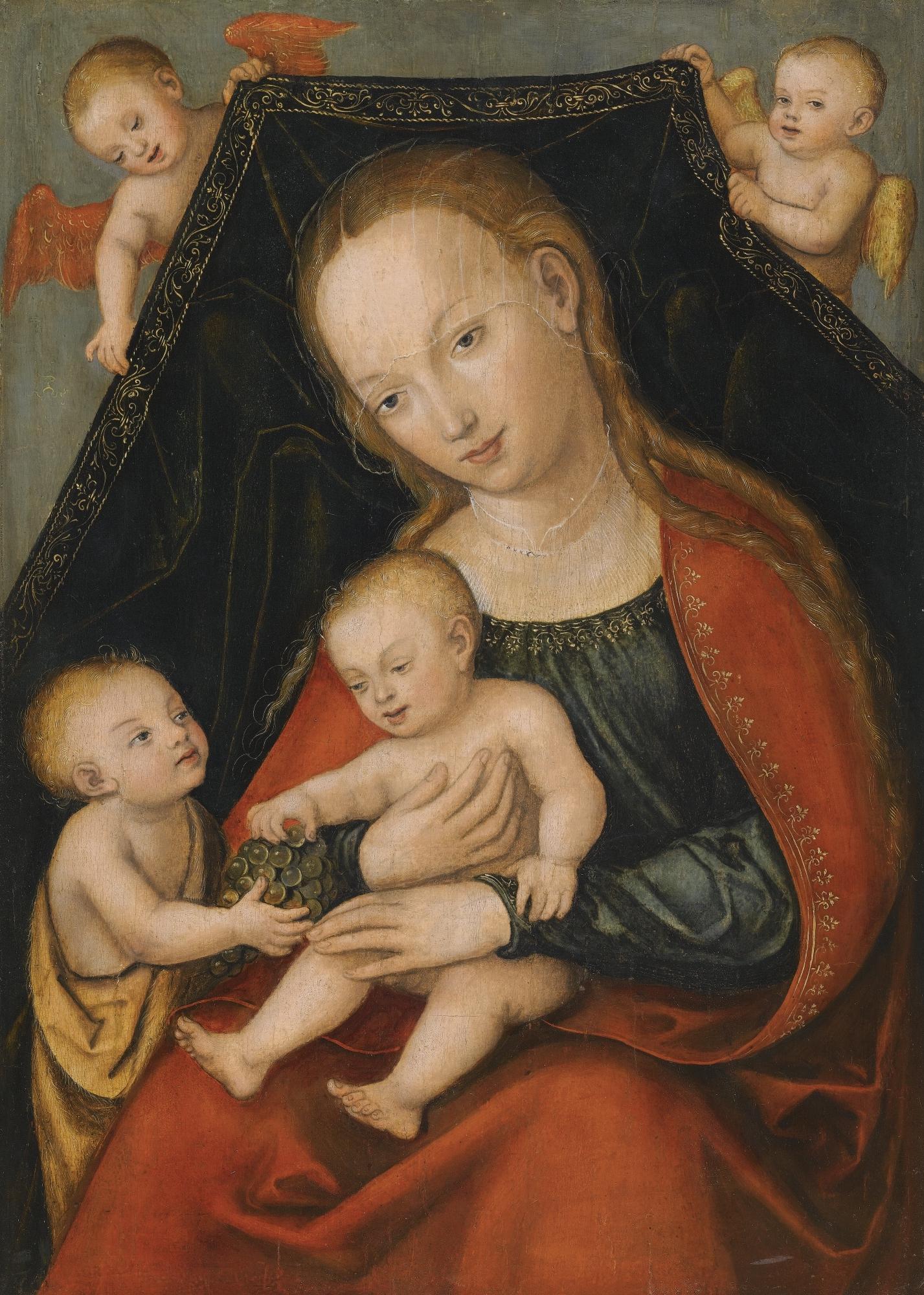 Jonas Krikstytojas. Madona su Kūdikėliu Jėzumi, Jonu Krikštytoju ir dviem angelais. Lukas Kranachas Vyresnysis (1472-1553).  Madonna_mit_dem_Jesuskind,_Johannes_dem_Täufer_und_zwei_Engeln