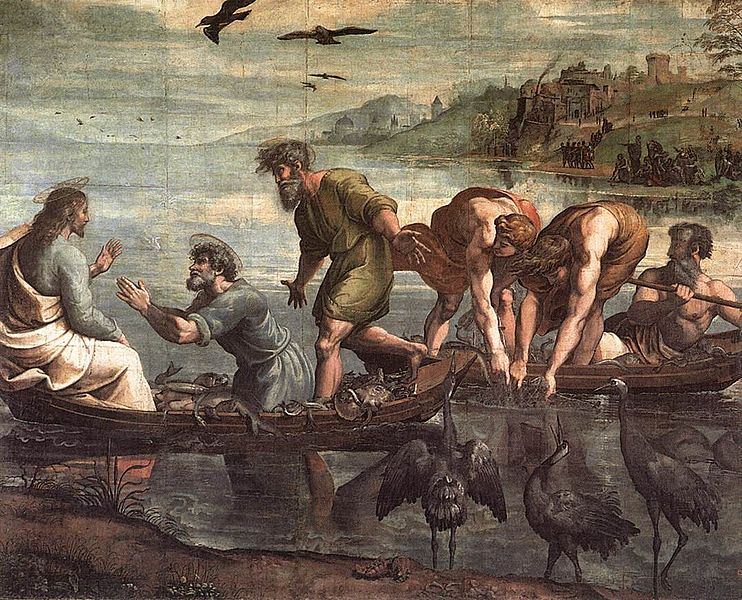 Stebuklingas valksmas. Raphael. The_Miraculous_Draught_of_Fishes. 1515. Lk 5,1-11