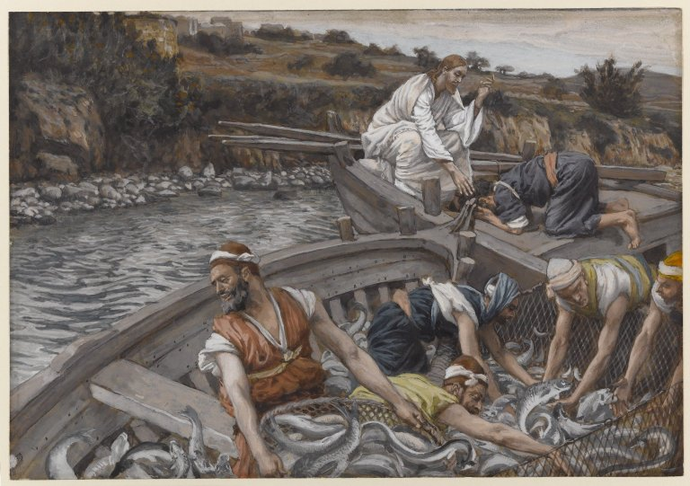 Stebuklingas valksmas.The_Miraculous_Draught_of_Fishes_(La_pêche_miraculeuse)_-_James_Tissot between 1886 and 1894.  Lk 5,1-11
