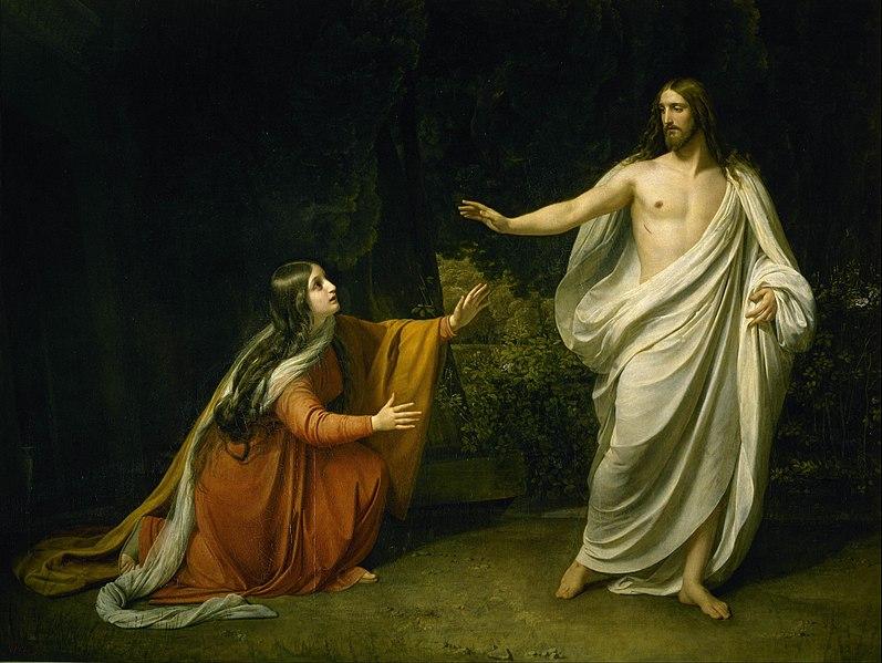 Marija Magdaliete. Александр Андреевич Иванов.  Явление Христа Марии Магдалене после Воскресения 1835