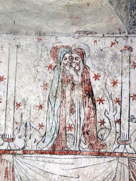 Marijos apsilankymas. Bäl kyrka Gotland liuteronus. 13-15 a. Gotische Wandmalerei Mariae Heimsuchung