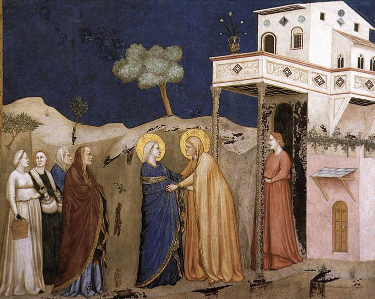 Marijos apsilankymas. Giotto,_Lower_Church_Assisi,_The_Visitation. 1310s 14 a. 2 deš.