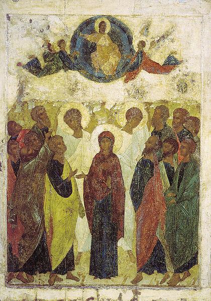 Sestines Kristaus Dangun zengimas. Andrei Rublev, 1408