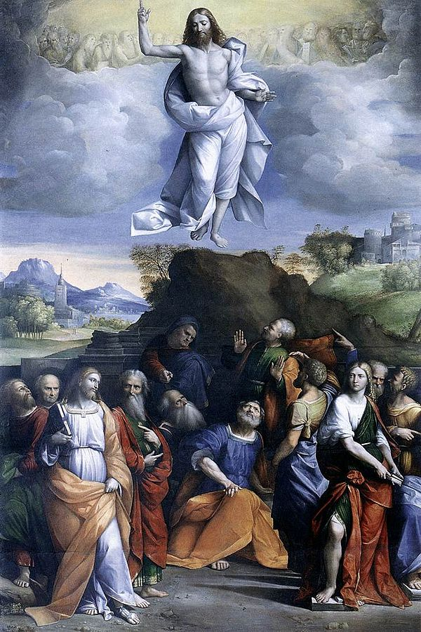 Sestines Kristaus Dangun zengimas. Benvenuto_Tisi_da_Garofalo_-_Ascension_of_Christ. between 1510 and 1520