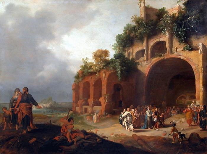 Kurčius. Kristus išgydo sunkiai kalbantį kurčių. Bartholomeus Breenbergh, 1635