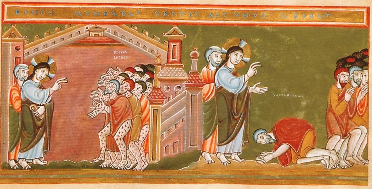 Desimt raupsuotuju CodexAureus_Cleansing_of_the_ten_lepers  c. 1035-1040