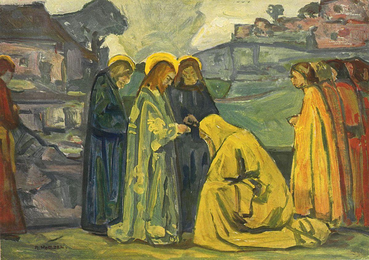 Kanaanietė. Kristus ir kanaanietė. Adolf Hölzel, iki 1926. -ChristusUndDieKananäerin