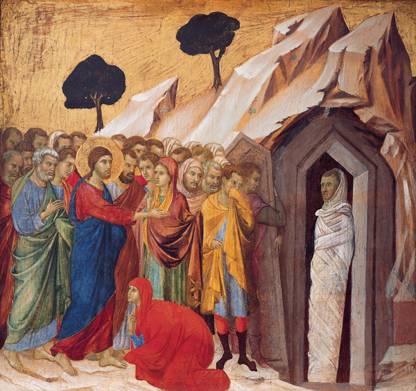 Lozoriaus prikėlimas. 'The_Raising_of_Lazarus',_tempera_and_gold_on_panel_by_Duccio_di_Buoninsegna,_1310–11,_Kimbell_Art_Museum between circa 1310 and circa 1311