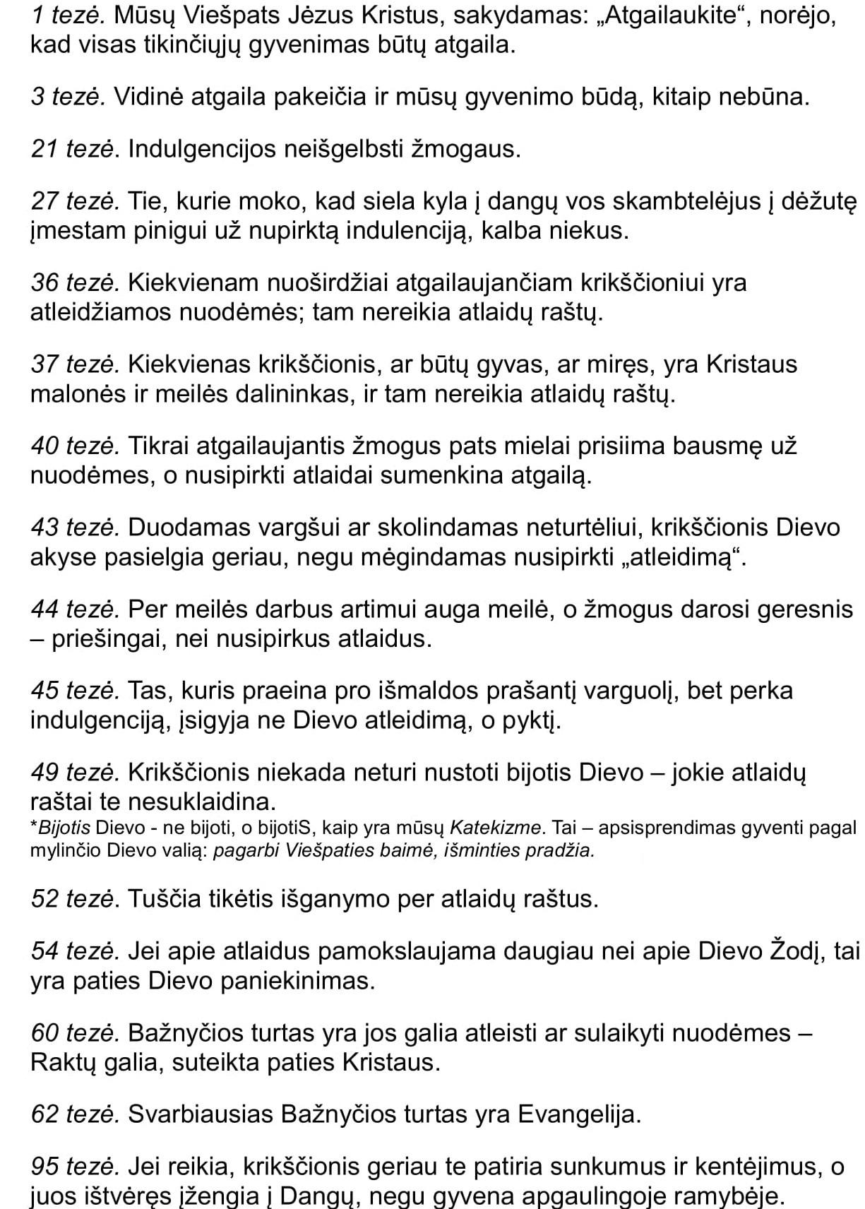 Keliolika iš 95 Liuterio tezių 1517 10 31