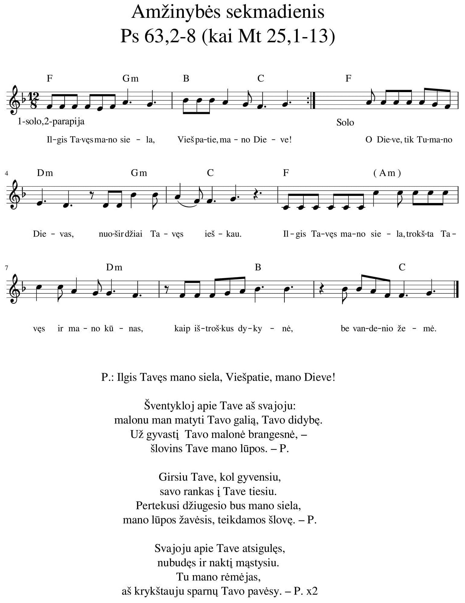 Amžinybės sekmadienis. Ps 63,2-8 (kai Mt 25,1-13)