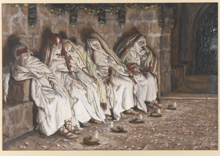 Dešimt mergaičių. Išmintingosios mergaitės. Brooklyn_Museum_-_The_Wise_Virgins_(Les_vierges_sages)_-_James_Tissot. 1886 and 1894