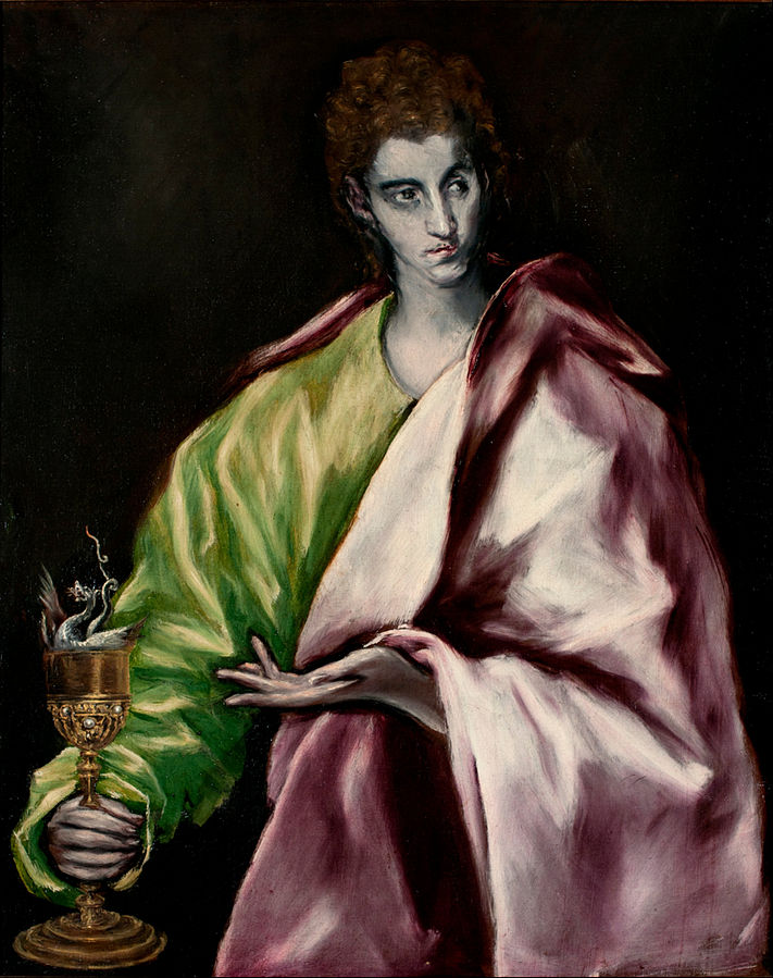 Jonas ir užnuodyta taurė. Šv. Jonas Evangelistas El_Greco_-_St._John between 1610 and 1614