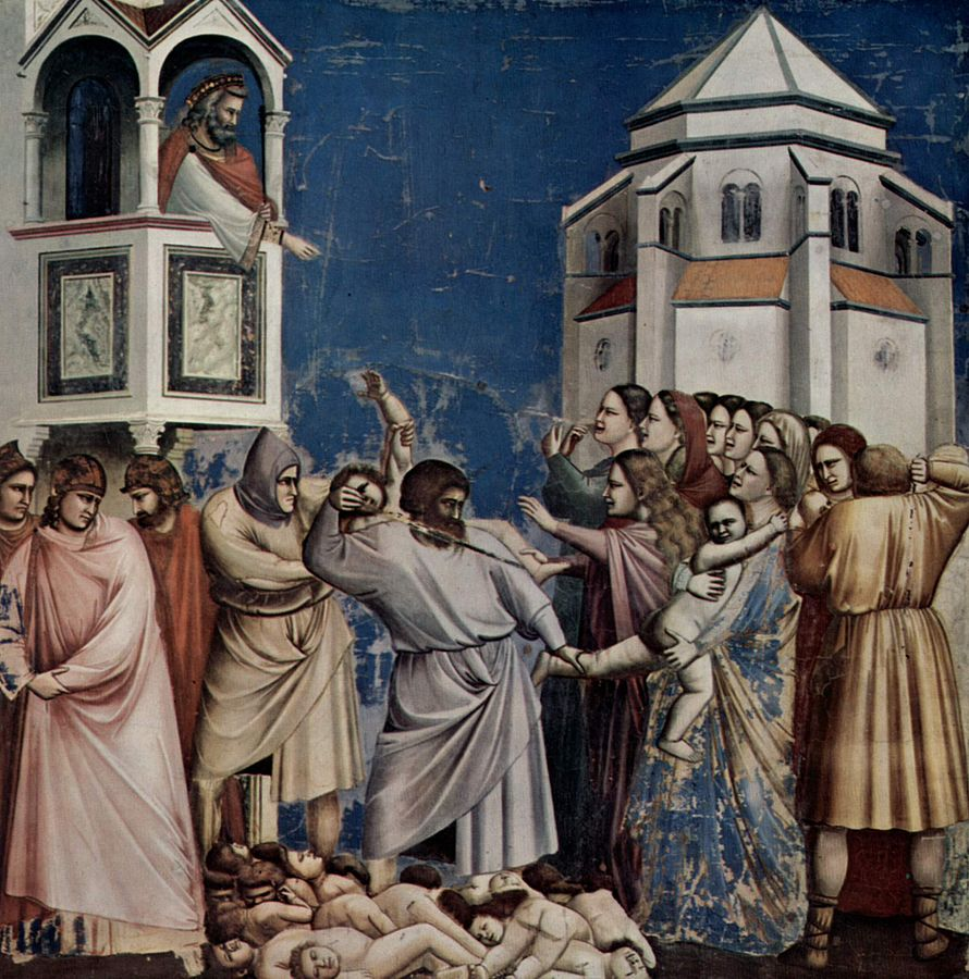 Nekaltieji vaikeliai. Kūdikių žudynės. Giotto_di_Bondone_-_No._21_Scenes_from_the_Life_of_Christ_-_5._Massacre_of_the_Innocents_-_ between 1304 and 1306
