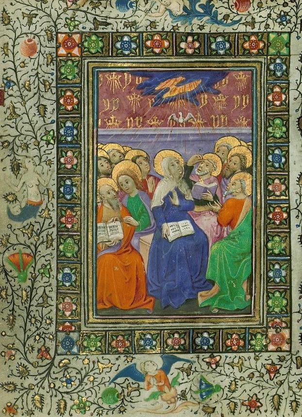 Sekmines. Book of Hours Pentecost Walters Manuscript fol. 15 a.