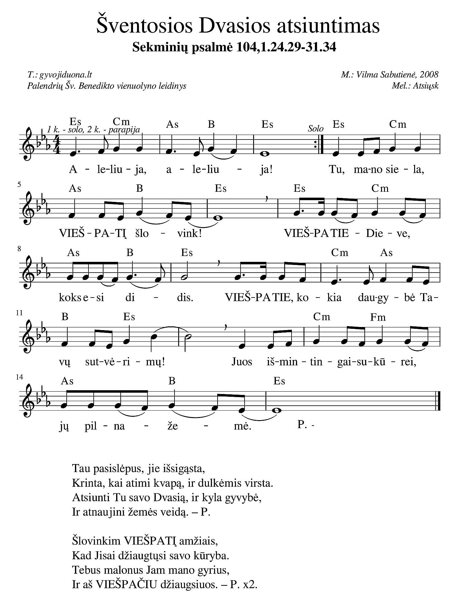 Sekminių psalmė 104,1.24.29-31.34-1