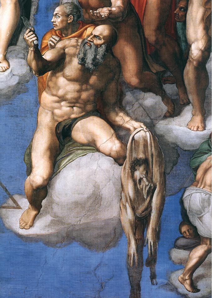 Baltramiejus. Paskutinis Teismas. Michelangelo, tarp 1537 ir 1541
