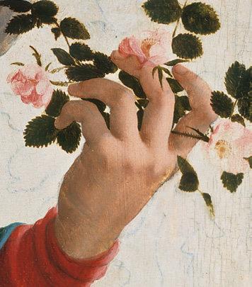 Gimimas Kaledos Marijos ranka ersketrozes Jan van Scorel, Madonna with Wild Roses c. 1530 Mary's hand