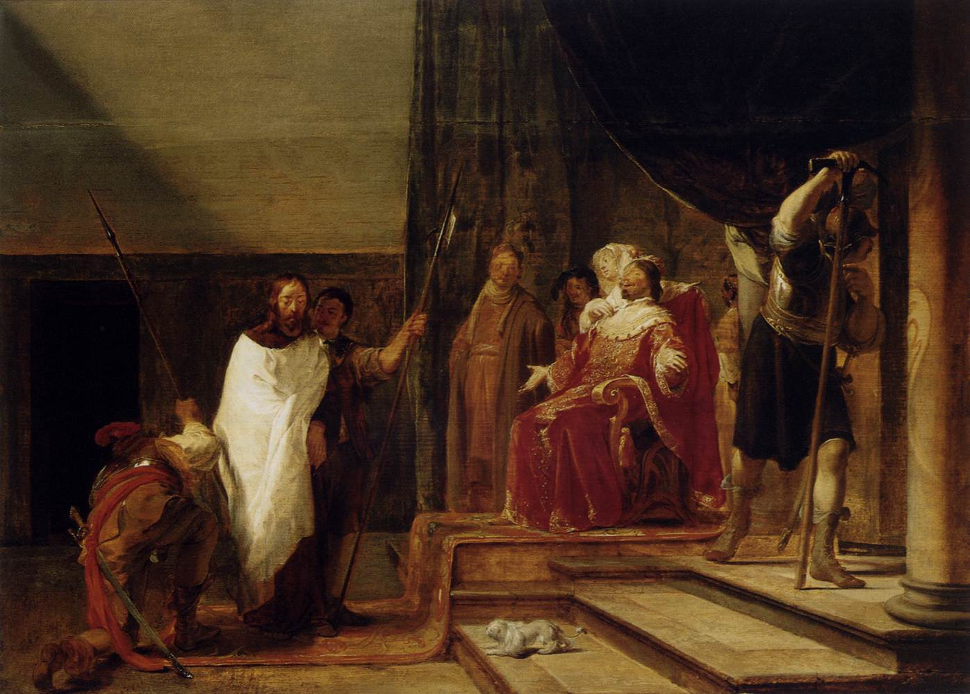15 Nicolaes_Knüpfer_-_Christ_before_Herod_Antipas_-_WGA12216
