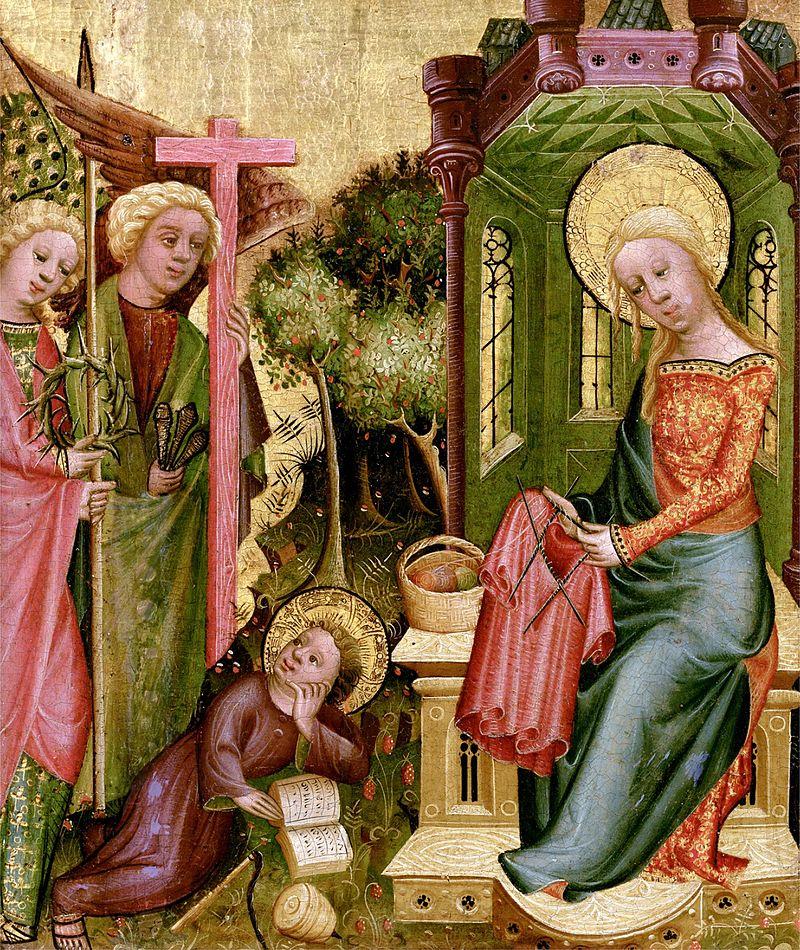 Angelo apsilankymas. Mezga Marija. kancios irankiai kryzius erskeciu vainikas Buxtehuder Altar KnittingMadonna. Meister Bertram von Minden 1340-1414 arba15