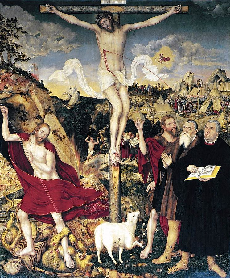 Nukryžiavimas. Altoriaus paveikslas Weimaro Šv. Petro ir Šv. Pauliaus bažnyčioje. Pradėtas Luko Kranacho vyresniojo, užbaigtas jo sūnaus Luko Kranacho jaunesniojo. 1555 (2)