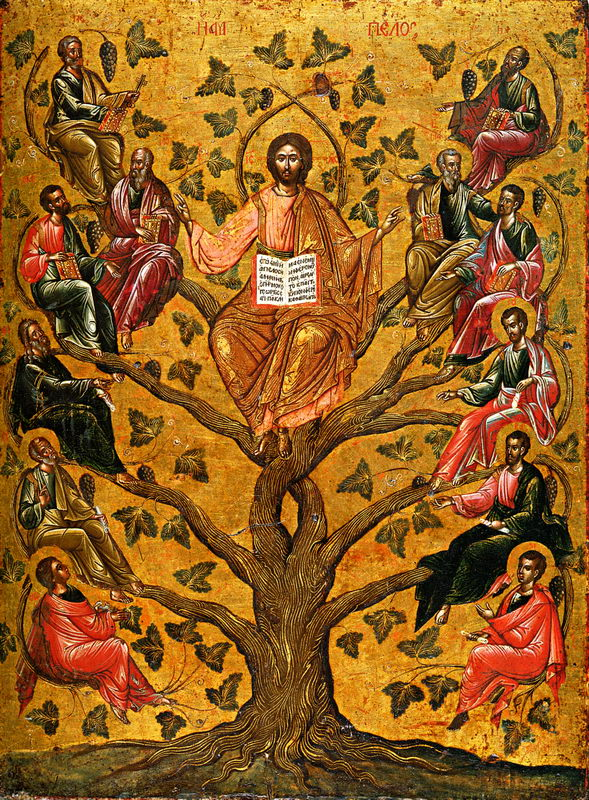 Vynmedis ir sakeles. Christ the True Vine icon (Athens, 16th century)