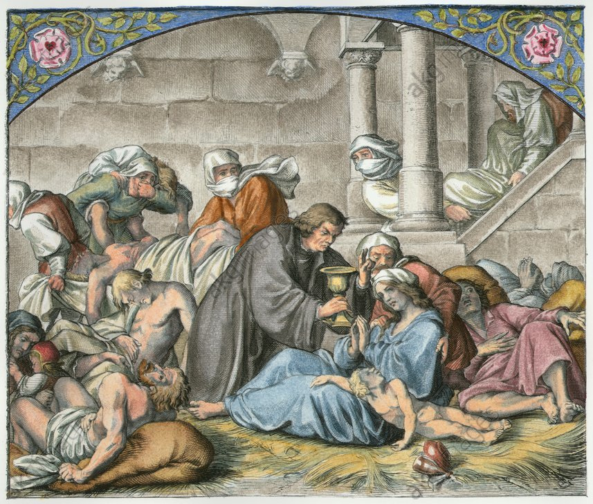 Martin Luther with plague victims (Wittenberg in 1535; handing out the last supper to a dying person). Etching, 1847, by Gustav König. nuspalvinta vėliau. 2