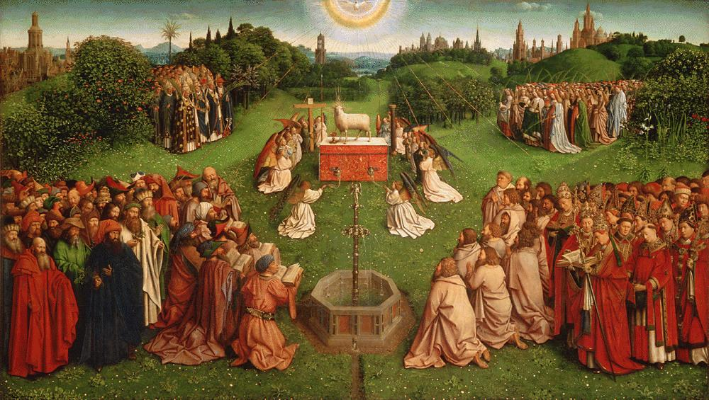 Avinelis. Gyvojo vandens saltiniai. Adoration of the Lamb. Retable_de_l'Agneau_mystique. Jan van Eyck. 15 a.