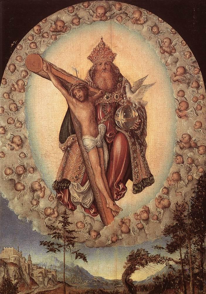 Trejybe. Lukas Kranachas vyresnysis. Lucas Cranach d. Ä. Trinity. Tarp 1515-1518