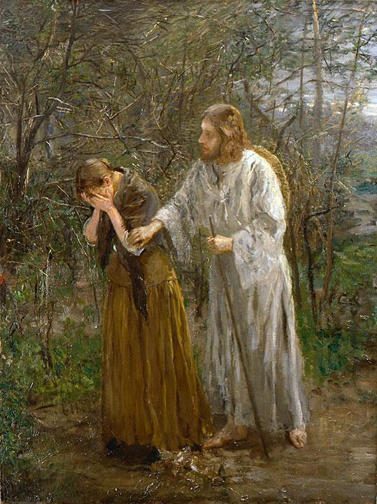Jėzus. Moterie, ko verki (Jn 20,15). Fritz von Uhde (1892-94)