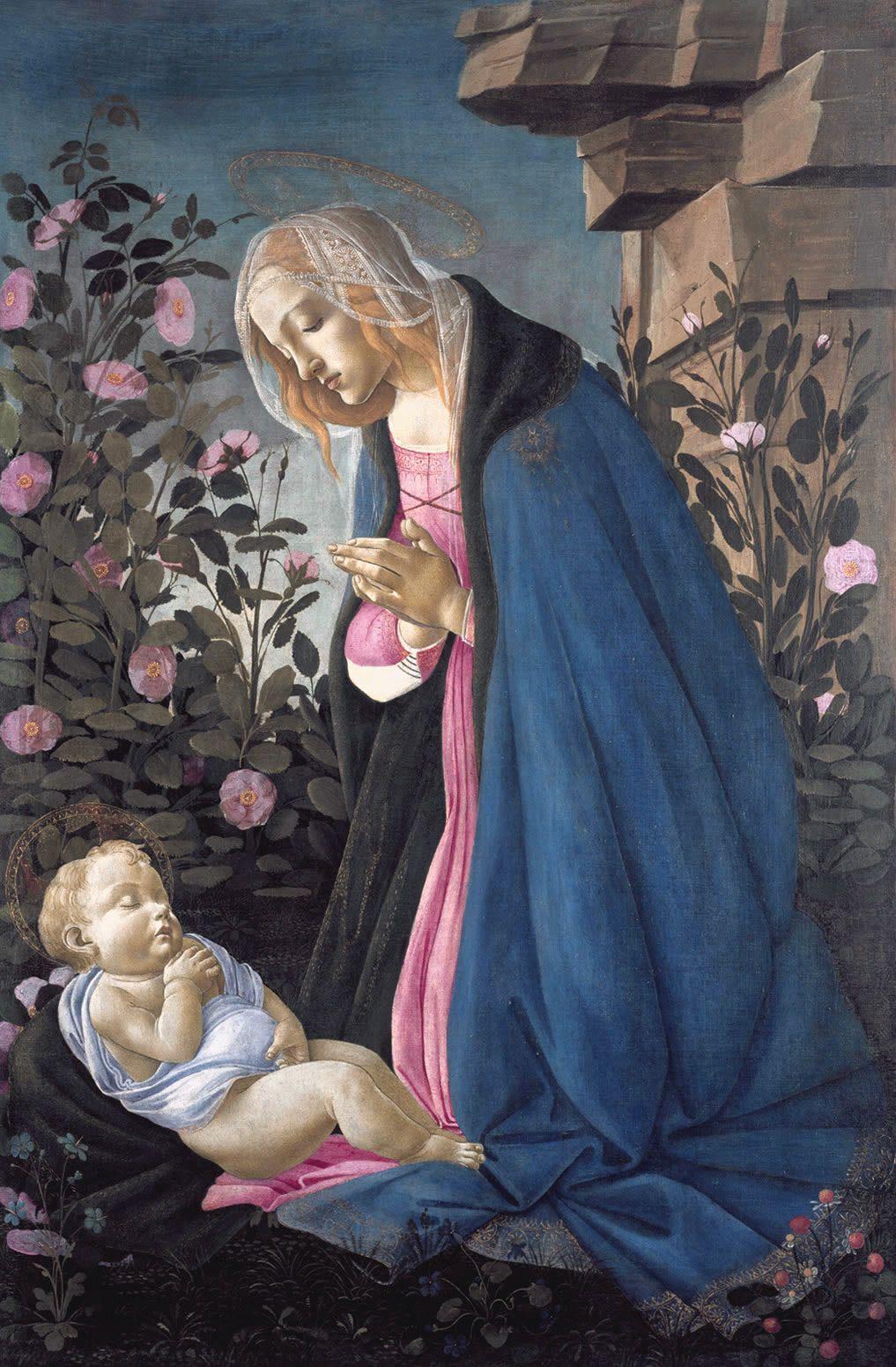 Gimimas Kaledos rozes zemuoges Mergelė garbina miegantį Kūdikį Kristų. Sandro Botticelli, c. 1444-1510