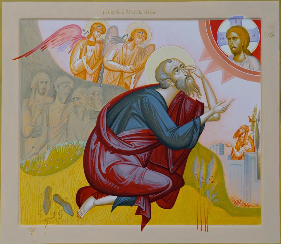 Paulius. Šv. Pauliaus regėjimas kelyje į Damaską. St. Paul's Vision on the Road to Damascus, by George Kordis, g 1956. Contemporary icon