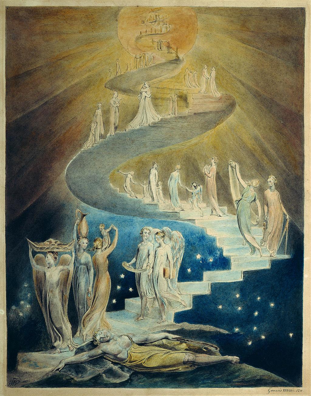 Jokubo sapnas. laiptai Viespatie Tau arciau. William Blake, 1805