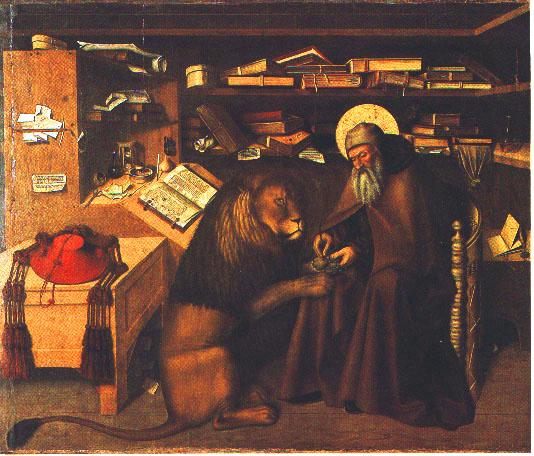 Jeronimas darbo kabinete. Niccolò Antonio Colantonio, c. 1440-1470 Jerome in his Study